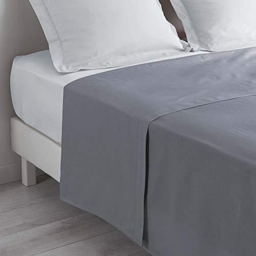 douceur d'intérieur 1640602 Drap Plat Uni Coton + Point Bourdon 57 Fils Gris Souris 240 x 300 cm