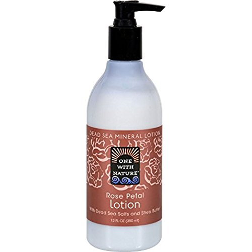 One With Nature Dead Sea Mineral Lotion with Dead Sea Salts and Shea Butter - Rose Petal - 12 oz by One With Nature