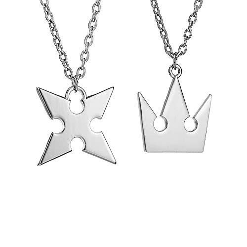 LACKINGONE Kingdom Hearts Halskette 2 Stück Set, Roxas Kreuz Halskette + Sora Crown Halskette