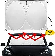 Auto Rover The Original Folding Windshield Sunshade for Tesla Model 3 Model Y 2018 2019 2020 2021 Custom Fit Sun Shade Cover