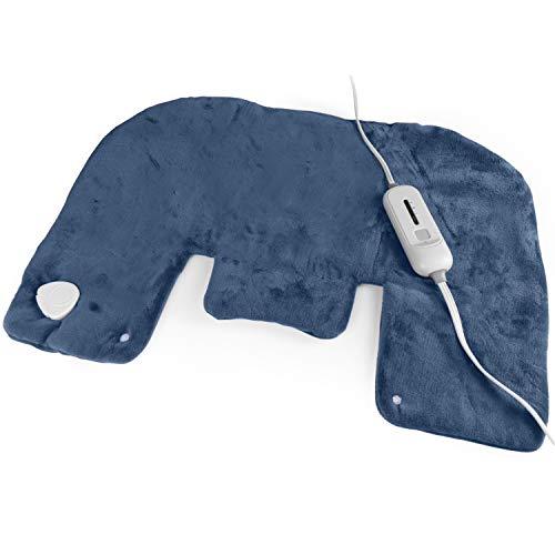 Almohadilla de calefacción eléctrica para cuello y hombros (18.0 x 27.1in), color gris – tecnología de calentamiento rápido, 3 ajustes de calor, opción de terapia de calor húmedo, calefacción rápida, bolsa de almacenamiento conveniente