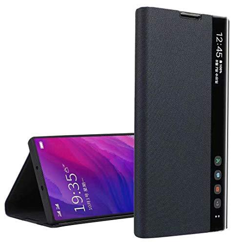Funda para Samsung Galaxy A22 5G, mate Smart Clear View Window Cover con función de apagado automático y despertador, funda de silicona a prueba de golpes para Samsung Galaxy A22 5G negro