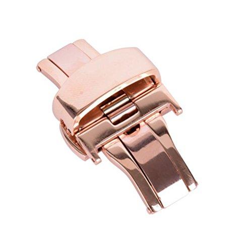 UKCOCO Edelstahl-Uhr-Doppeldruckknopf-Butterfly-Faltschließe für Armbanduhrband 24MM (Rotgold)