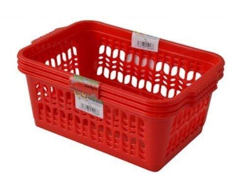 2 x Set mit 3 mittelgroßen Kunststoffkörben für Obst, Gemüse, Küche, Büro, Aufbewahrung, Rot