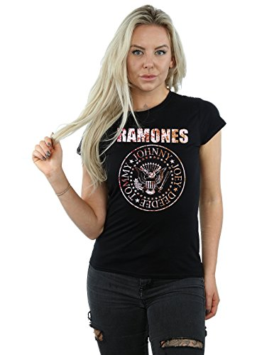 Ramones Damen Flower Rose T-Shirt Medium Schwarz