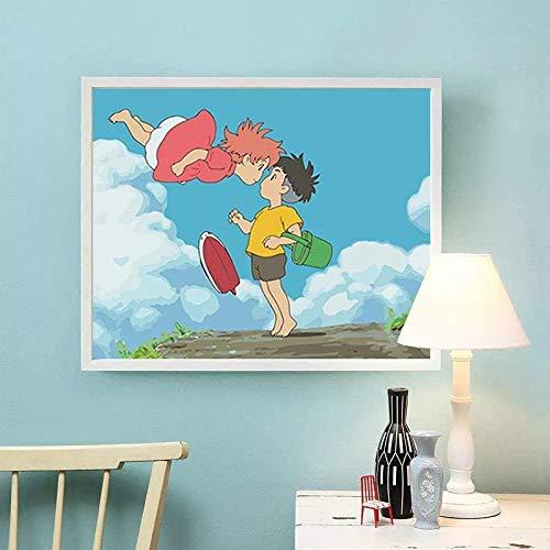 JHGJHK Película de Dibujos Animados Anime japonés Hayao Miyazaki película de Peces de Colores Manga decoración de la habitación Familiar Pintura (Imagen 2)