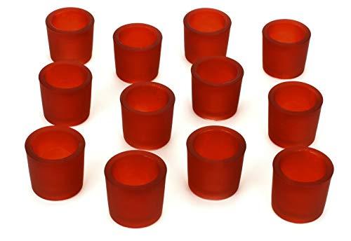 NoNa 12er Set 6 cm Teelichtglas Glas Farbe Rot Kerzenglas Windlicht Kerzengläser