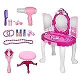 Tocador estilo princesa, tocador 2 en 1 para niñas y niños Tocador princesa con taburete con cajón Morroir y kit completo de herramientas de maquillaje para niños, secador de pelo con varita mágica