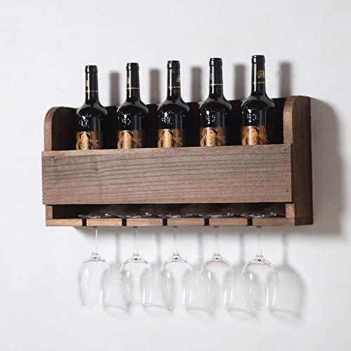 Estante de Vino doméstico montado en la Pared LSS Hecho de Soporte de Copa de Vino de Madera Maciza, no deformado, no Agrietado, Fuerte Capacidad de Carga, Duradero