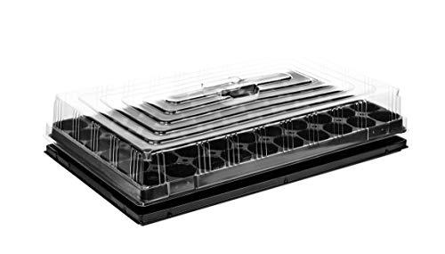 BigDean Anzuchtplatte Pro 60 Pflanzlöcher 4,7 cm & Untersetzer & Haube Pflanzschale Anzuchtschale Topfplatte 53 x 31 cm