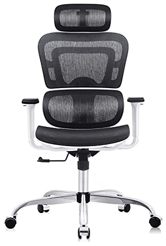 Office Chair, FelixKing Ergonomic Desk Chair with Adjustable Headrest and 3D Armrests Lumbar Support and Silver Wheels Reclining High Back Mesh Computer Chair (White)