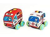 PICCOLOTOYS Vehículos Blanditos 11 cm. Set Emergencias y Ambulancia