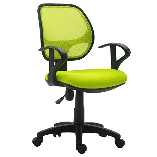 IDIMEX Chaise de Bureau pour Enfant Cool Fauteuil pivotant et Ergonomique avec accoudoirs et Dossier ventilé, siège à roulettes avec Hauteur réglable, revêtement Mesh Vert