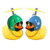 Juguetes de pato de goma, decoraciones de tablero de coche de pato, adornos de coche de pato de goma, pato fresco con hélice / casco / gafas de sol / cadena de oro (Estrellas Azules + Sandía Verde)