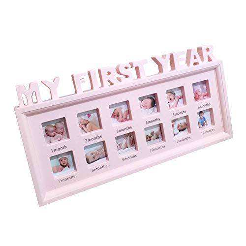 SparY Baby Bilderrahmen, 1-12 Monat Multi-Foto Baby Bilderrahmen - Mein Erstes Jahr Bild Säugling Souvenirs Display - Baby Geburtstag Geschenke Wohndeko - Rosa, Free Size