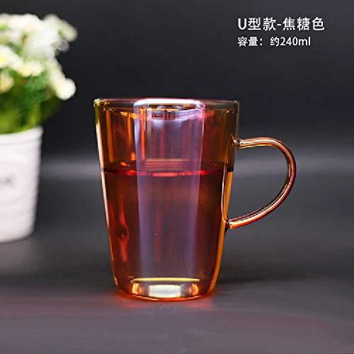 wangwei Bicchiere Da Acqua in Vetro Resistente Al Calore a Doppio Strato Luminoso E Colorato Tazza Da Tè Tazza Da Tè Per Ufficio a Casa Fiore Tazza 301-400ml / A forma di U-caramello