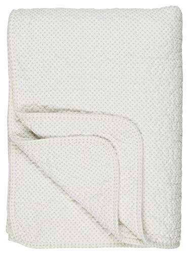 IB Laursen - Tagesdecke, Bettüberwurf, Quilt - Baumwollle - Pünktchen weiß-Creme - 180 x 130 cm