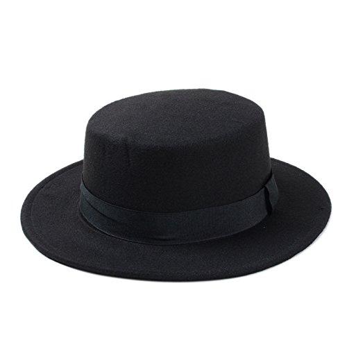 MUMUWU Wool Pork Pie Boater Flat Top Hat for Women's Men's Felt Wide Brim Fedora Gambler Retro Hat (Color : Black, Size : 57-58cm)