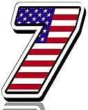 Biomar Labs® Número 7 Bandera Americana de Estados Unidos Nacional USA Calavera Vinilo Adhesivo Pegatina Coche Auto Motocross Moto Sport Start Racing Tuning N 307