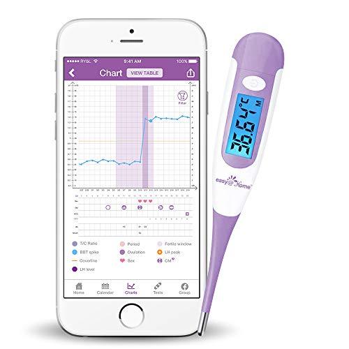 Termómetro basal digital Easy@Home Pantalla LCD con retroiluminación azul 1/100 grados de alta precisión para el seguimiento de la ovulación Aplicación gratuita Premom Español Morada