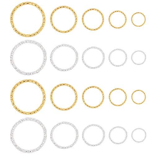 PandaHall 760 piezas 5 tamaños 8 10 12 15 20 mm anillos abiertos de salto, anillos de hierro, conectores de joyería para pendientes, pulseras, collares, colgantes, joyería, manualidades, oro y plata