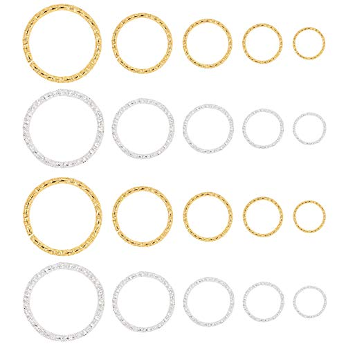 PandaHall 760 pcs 5 Sizes 8 10 12 15 20mm Open Jump Rings, Iron O rings Connectors Jewelry Findings for Earring Bracelet Necklace Pendants Jewelry DIY Craft Making, Golden and Silver
