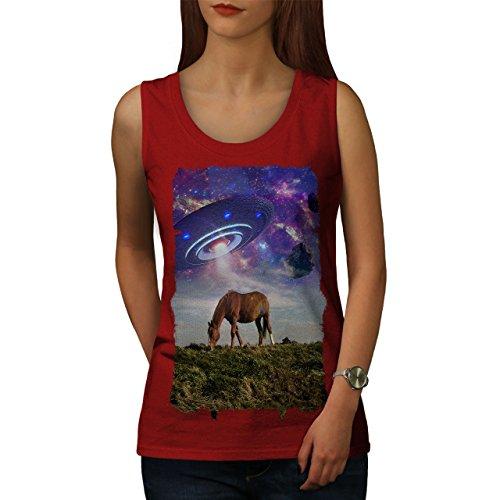 wellcoda Pferd UFO Raum Tier Frau Tank Top Pferd Athletisches Sport-Shirt