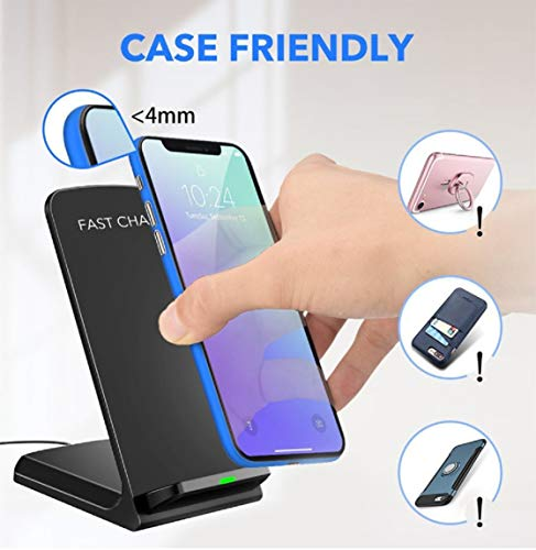 LOOKit 10W Fast Wireless Charger (Schwarz), Qi Ladegerät für Huawei P30 Pro Mate 20 Pro Huawei 2018 Google Pixel 3 4 Charger Samsung Galaxy S10 e + S9 S9+ LG V40 G7 ThinQ (C1 (10W/7W)) - 5