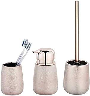 Set Accessoires Salle de Bain, gobelet Brosse à dent, Distributeur Savon Liquide, Brosse WC, Céramique, Glimma, Rose Effet...