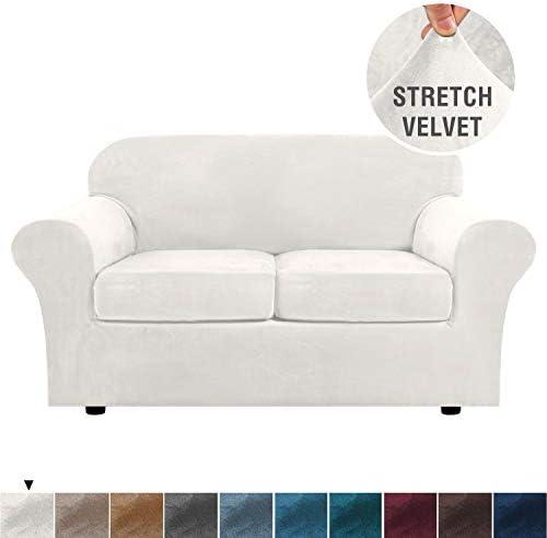 Best Real Velvet Plush 3 Piece Stretch Sofa Cover Velvet-Sofa Slipcover Loveseat Cover Furniture Protecto