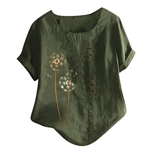 Damen Kurzarm T-Shirt Leinen O-Neck Oberteile Basic Tops Kurzarm Shirts Oberteil Sexy...
