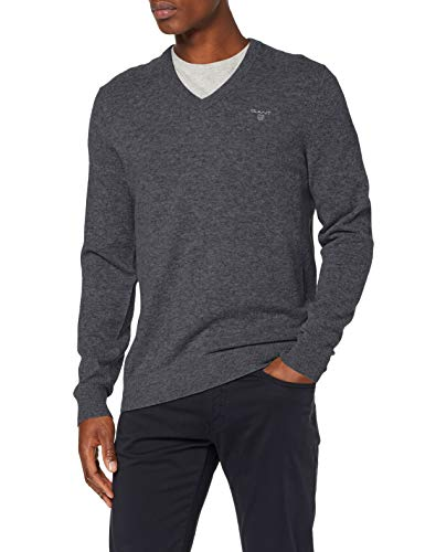 GANT MD. Extrafine Lambswool V-Neck suéter, Gris (Dk Charcoal Melange 97), Small para Hombre