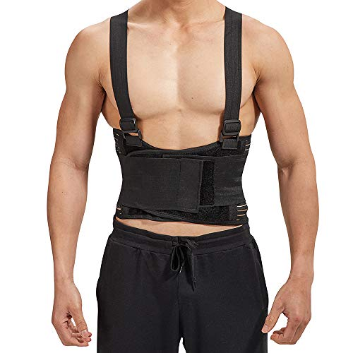 Industrial Work Back Brace | Removable Suspender Straps for Heavy Lifting Safety - Lower Back Pain Protection Belt for Men & Women in Construction, Moving and Warehouse Jobs