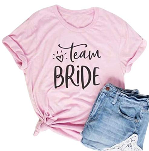 Team Bride T Shirt Women Bachelorette Party Short Sleeve Pink Tops Wedding Gift Shirt Size M (Pink)