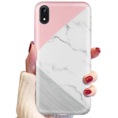 """LUMARKE iPhone Xr Case,Cute Marble&Wood for Girls Women Slim-Fit Glossy TPU Clear Bumper Flexible Soft Rubber Silicone Best Protective Phone Case Cover for iPhone XR [6.1""""]"""