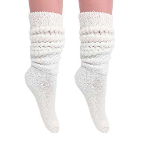 Slouch Socks Women and Men Extra Tall Heavy Cotton Socks Size 9 to 11 (White, 2)