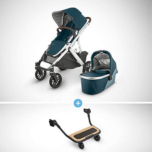 For Sale! UPPAbaby Vista V2 Stroller - Finn (Deep Sea/Silver/Chestnut Leather) + Piggyback for Vista...