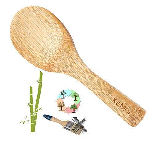 KeMar Kitchenware Bambus Reislöffel, Kochlöffel, Rührlöffel, Küchenlöffel, Holzlöffel, Löffel, Nicht lackiert, 19 cm