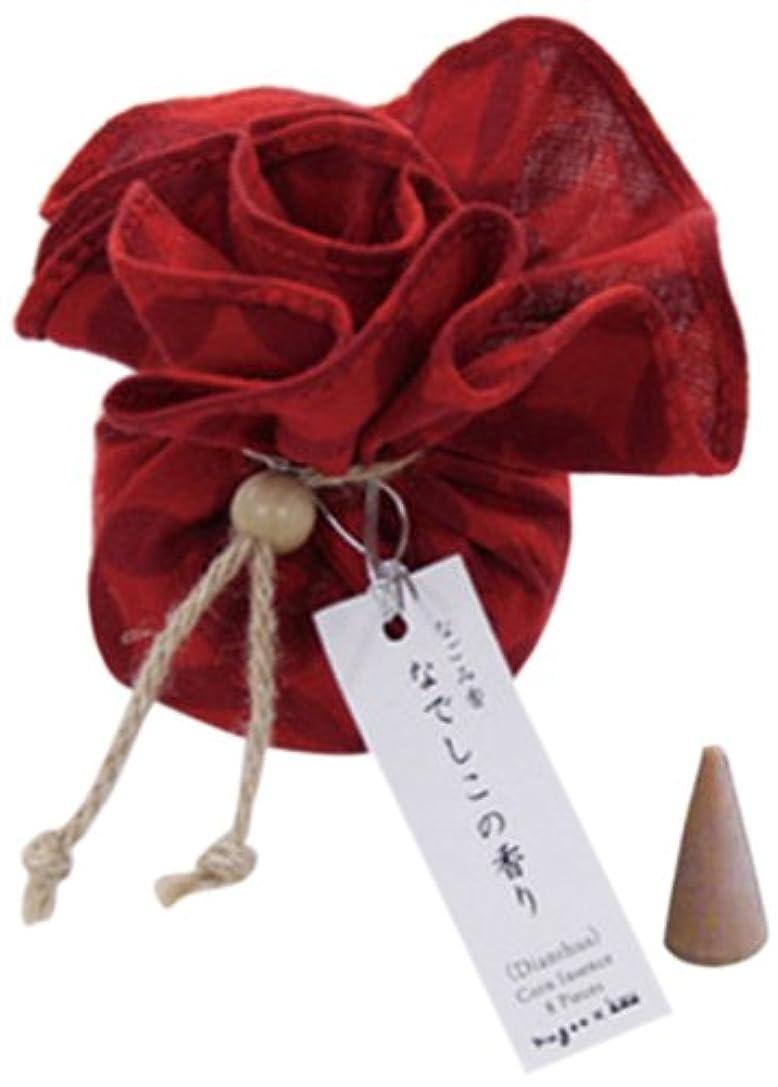 中級連隊刑務所なごみ香 手拭巾着包 お香(コーンインセンス) なでしこの香り nugoo×kou 七宝紋(赤)