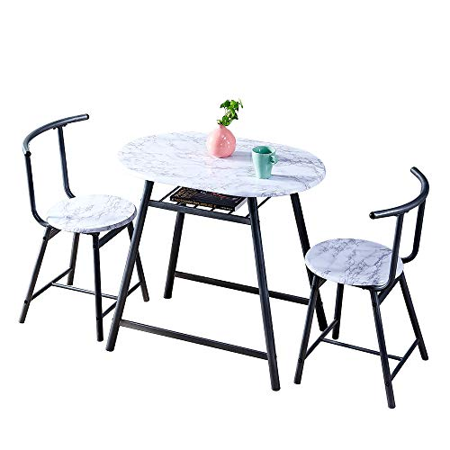 Huisen Furniture White Small 3 Piece Dinette Kitchen Breakfast Bar Set Dining Table and Chairs Set of 2 Marble-like Pattern Wood Finish Metal Frame for Apartment Space Saving