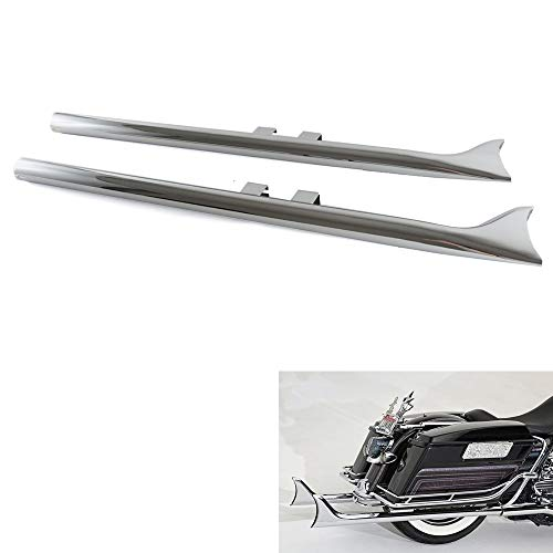 Fishtail Pipes for Harley, Awesome Sound Quick Install Fishtail Slip-On Mufflers, For 1995-2016 Harley Touring, Such as Road King, Street Glide. 39'' in Length Beautiful Chrome By DRACULEXTREME…