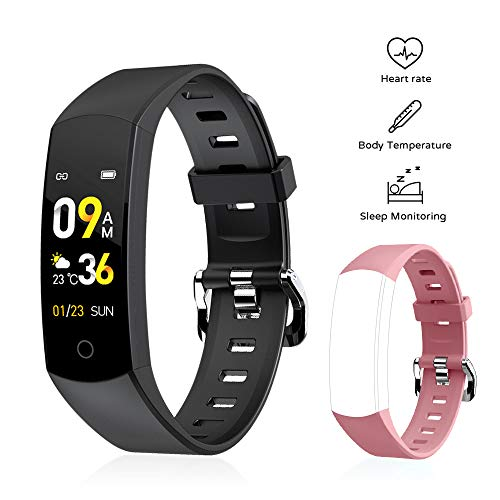 Fitness Tracker Heart Rate, Activity Tracker Watch with Body Temperature & Heart Rate & Sleep Monitor Waterproof Smart Bracelet with Multi-Sport Mode, Calorie Counter, Pedometer Watch (Black-Pink) Electronics Features Smartwatches