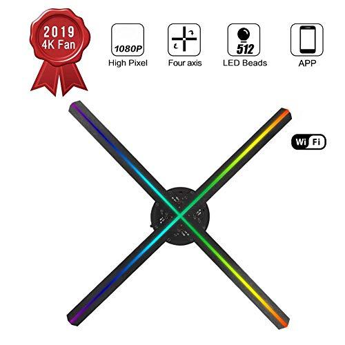 3D holografische projector A11 512 lamp kralen 3D holografische projector reclamemachine ondersteuning WiFi Bluetooth 110-240V (zwart)