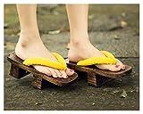 Lpzw Mujer japonés Neta Caoba 屐 屐 齿 齿 Zapatillas de Madera Pinnacles Arrastrar Cosplay Casual Sandalia Zapatillas Tacones Altos Tacones (Color : 001, Size : 35)