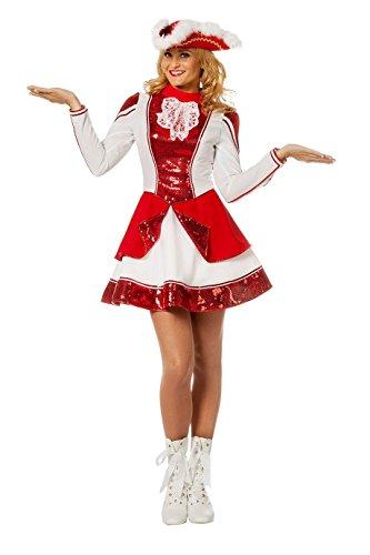 Tanzmariechen Kleid Garde für Kinder rot/weiß mit Pailletten ohne Hut Gr. 38