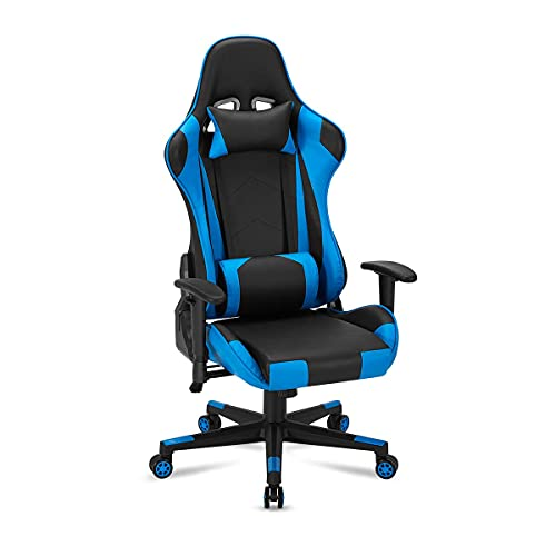 Gaming Chair Office Chair Ergonomic Premium Breathable Cloth Material with Headrest and Lumbar Cushion Height Adjustable Gaming Chair with 360°-Swivel Seat and Headrest for Adults Women Men