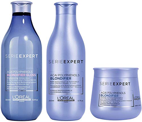 L'Oreal Professionnel Serie Expert Blondifier Shampoo Cool 300ml, Conditioner 200ml & Masque 250ml Pack