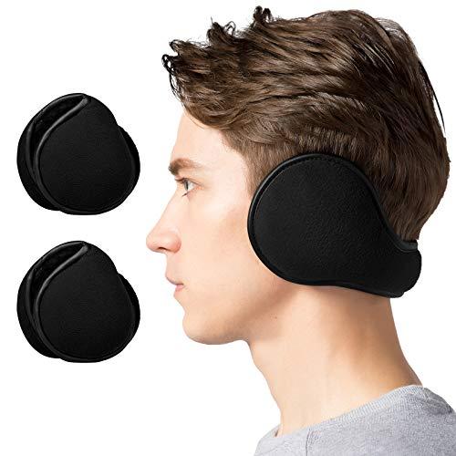 Lauzq Winter Ear Muffs for Men - Foldable Fleece Ear Warmers (2 Pack)