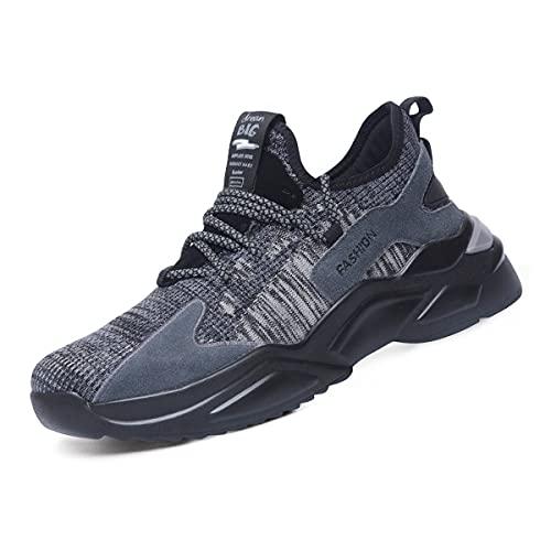 Aingrirn Zapatos de seguridad Hombres Acero Toe Cap Entrenadores para mujer Zapatos de trabajo ligeros transpirables Industriales antideslizantes Zapatillas de deporte, color, talla 39 2/3 EU