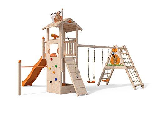 Spielturm Dori von Isidor mit erweitertem Schaukelanbau,Kletterturm mit XXL Rutsche in Orange, Reckstange, Kletterwand UVM. auf 1,50m Podesthöhe